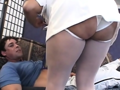 Slinky honey in nurse uniform is brave sufficiently to bang two bayonets