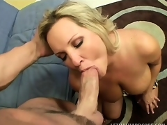Huge breasted blond mom Rachel wildly rides a young stud's hard cock