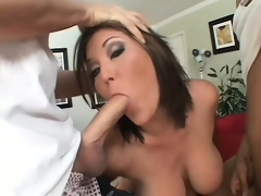 Curvy brunette hair Claire Dames blows four big shafts and gets cum all over her face