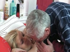 Horny grandpa repairman bonking fresh blonde tight pussy