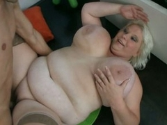 Shameless fatty granny opens for huge young cock