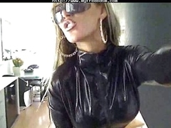 Big tits blonde babe on touching latex suit