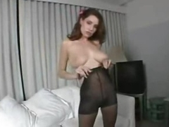 Pantyhose fetish play around busty on the level looker
