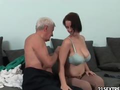 Grandpa seduces a big tits babe and licks her