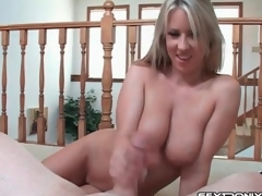 Big natural breasts are yummy in cook jerking video