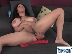 Busty MILF Shannon Rubbing Her Hairy Pussy