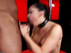 Filthy whore Aletta Ocean munches a huge penis with pleasure