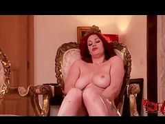 Horny tattooed redhead solo erotic play