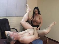 Breasty Latin babe Dominatrix Bonks a Submissive Male with a Dong