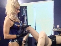 Busty Golden-haired Bitch goddess Shaves and Tortures Her Sex Slave's Pussy