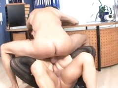Fat chick fucked by 2 guys in office