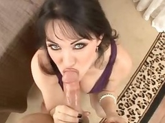 Milf in a mean purple dress sucks your cock
