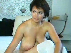 MILF with strapping boobs and chubby areolas teasing