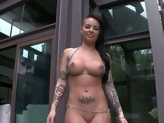 Christy Mack is here and it means, that you are going to see a actually hot striptease and coarse masturbation. Just take a look at her big fuckable a-hole and huge melons, its a miracle