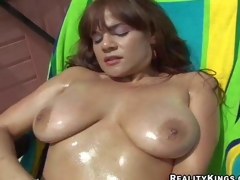 Brown haired honey Danni Daire shows off her big natural boobies outdoors and then takes cock indoors. That babe acquires her nice juicy titties rubbed and then gives mouth job. Watch slutty busty girl have fun