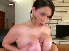 So sexual and so naughty woman Noelle Easton is going to play with big cock of marvelous fellow. She is using her massive boobs, magic mouth and delicate hand to caress his dick.