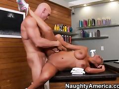 Flirty temptress with big bottom and clean pussy finds herself getting slam fucked by Johnny Sins