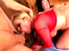 Stacked blonde relishes the wild hardcore threesome and swallows a biggest cumload
