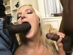 Two insatiable black fuckers enjoy banging a slutty golden-haired babe