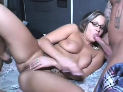 Nerdy Nicole gets her holes ravaged by three hard meaty cocks