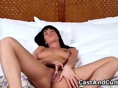 Hot Rahyndee plays with pussy and acquires screwed