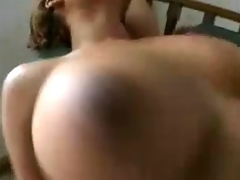 Breasty Ebony fucked hard by young blonde man