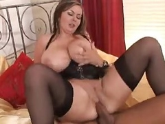 Leader BBW not far from corset rides hunger cock