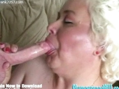 Huge knockers bbwgranny gives blowjob