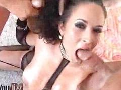 Four Studs Facializing Busty Slut