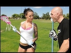 Emily Parker is a mean lacrosse player and this day this babe is giving Johnny's Sins a intimate lesson. Johnny cannot take his eyes off Emily's marvelous breast which totally messes his game up. After the lesson Emily sneaks into the shower with Johnny to give him a award for all the hard work.