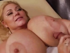 Samantha 38G receives her tits drenched with doting jizz
