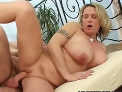 Busty bush-leaguer wife sucks and fucks relative to facial cumshot