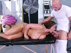 Ultra buxom lady Eva Notty got the brush curvaceous forms massaged away from Johnny Sins