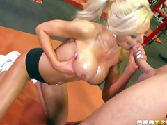 Nina Elle is his adorably sexy busty personal trainer that shows her huge boobs eagerly. Topless sporty blonde with wet big melons finds his dick hard and gives head eagerly. Then he licks her tasty cum-hole and her firm ass