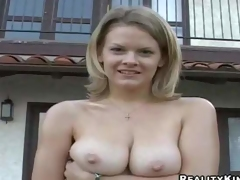 Cute blond lady Bailey Bliss demonstrates her lovely natural hooters outdoors and indoors, She gets her juicy boobs touched by curious chap before she pulls down her white pants to show her clean pussy