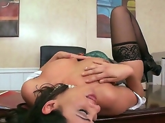 Bruce Venture and Charley Pursue spending great time in an office right on the workplace. The business woman plays with cock before getting cunnilingus. What gonna be next