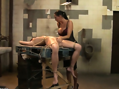 Brunette hair Mandy Bright and Lucy fulfill their sexual desires licking every others pussy