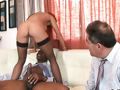 Sean Michaels plays with soaking juicy love box of Janet Mason before this chab fucks her hard