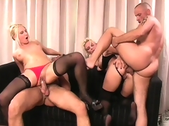 Vivian and Gina get their holes roughly drilled by a couple of hung guys