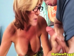 Tugging glam gran takes spex off for cumshot