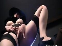 Whore From Britain In A Hat Masturbates
