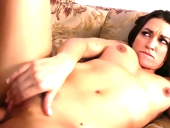 Brunette Ann Marie Rios gets screwed on the couch.