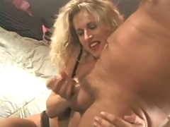 Hottest blonde MILF gives the hottest tugjob