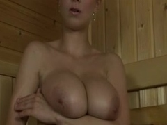 With hot busty old bag in sauna