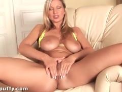 Bikini looks incredible on large tits golden-haired girl