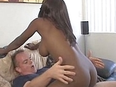 White dick in the black lovely pussy. Creampie