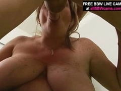 Mature blonde bbw pulls out huge mounds and gives orall-service