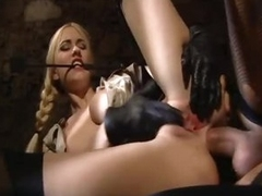 Hot natural titty chick in gloves fucked hard